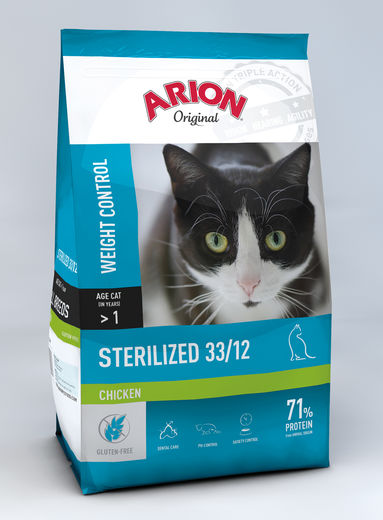 Arion ORIGINAL Kissa Adult STERILIZED Kana 2 kg, täysravinto leikatuille kissoille.