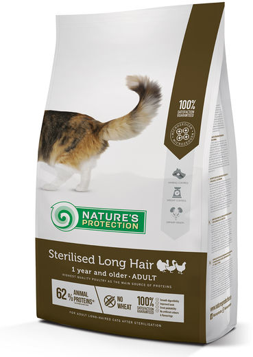 Natures Protection Super Premium Sterilised Adult Long Hair Siipikarja 2 kg, täysravinto leikatulle, pitkäkarvaiselle kissalle.