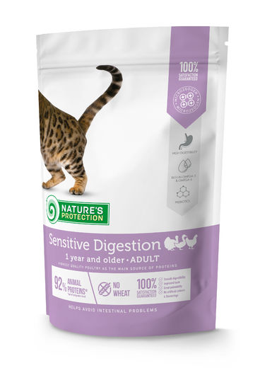 Natures Protection Super Premium Sensitive Digestion Adult Siipikarja 400g, täysravinto herkkävatsaiselle kissalle.