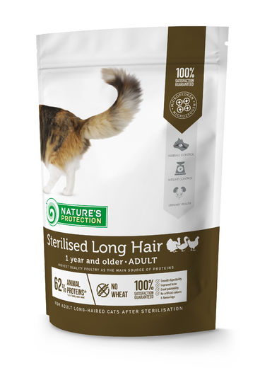 Natures Protection Super Premium Sterilised Adult Long Hair Siipikarja 400g, täysravinto leikatulle, pitkäkarvaiselle kissalle.