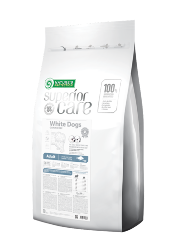 Natures Protection Superior Care White Adult Vaalea kala 10 kg koiranruoka vaaleille koirille