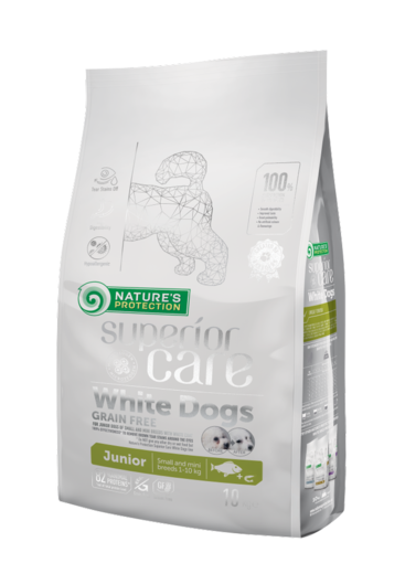 Natures Protection Superior Care White Dogs Junior Vaalea kala 10 kg koiranruoka vaaleille koiranpennuille