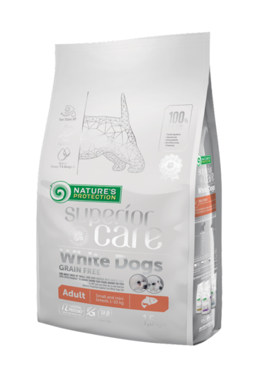 Natures Protection Superior Care White dogs Lohi Adult 1,5 kg koiranruoka vaaleille koirille